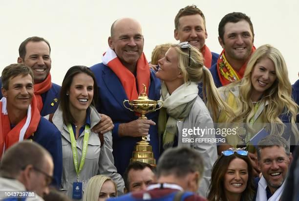 Europe's Danish golfer Thorbjorn Olesen , Europe's Spanish golfer Sergio Garcia , Europe's Danish captain Thomas Bjorn , Europe's English golfer Ian...