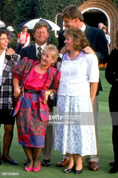 Europe's Ian Woosnam his wife Glendryth Nick Faldo and his wife Gill share a joke during the posttournament celebrations