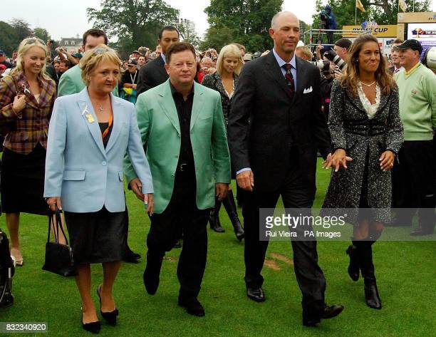 Europe's Ian Woosnam with wife Glendryth and Tom Lehman with wife Melissa leave from the opening ceremony of the 36th Ryder Cup at the K Club Co...