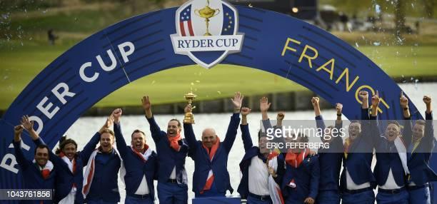 Europe's Italian golfer Francesco Molinari, English golfer Tommy Fleetwood, English golfer Tyrrell Hatton, English golfer Paul Casey, Danish captain...