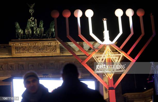 Europe's largest menorah stands prior to its public lighting ceremony in front of the Brandenburg Gate on the first night of the eight-day Chanukah...