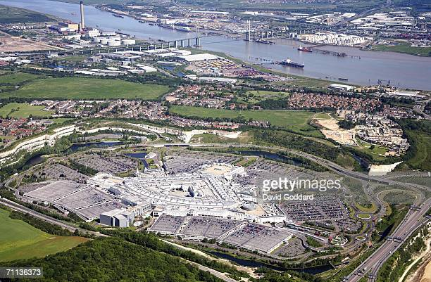 Europe's Largest Shopping Centre Bluewater with the Queen Elizabeth II bridge in the background sits beside the River Thames in this aerial photo...