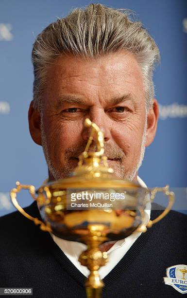 Europe's Ryder Cup captain Darren Clarke pictured as he holds a press conference at Royal Portrush golf club as part of the Ryder Cup Trophy Tour...