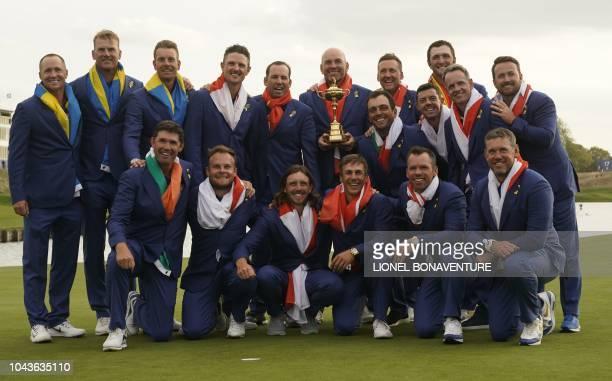 Europe's Swedish golfer Henrik Stenson, English golfer Justin Rose, Swedish golfer Alexander Noren, Spanish golfer Sergio Garcia, Danish captain...