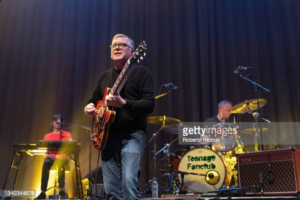 Euros Childs, Norman Blake and Francis Macdonald of Teenage Fanclub perform on stage at Assembly Rooms on September 14, 2021 in Edinburgh, Scotland.