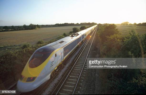 Eurostar at speed in the Kent countryside 1995
