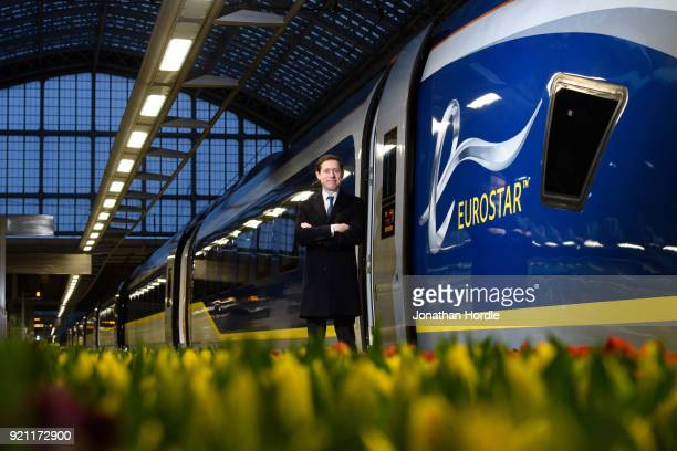Eurostar CEO Nicolas Petrovic poses for a photo as the inaugural Eurostar service sets off from London to Amsterdam as ticket sales open for the new...