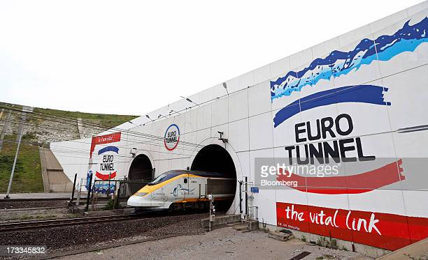 Eurostar Group Ltd. Passenger train traveling from England exits the Channel Tunnel, operated by Groupe Eurotunnel SA, in Calais, France, on...