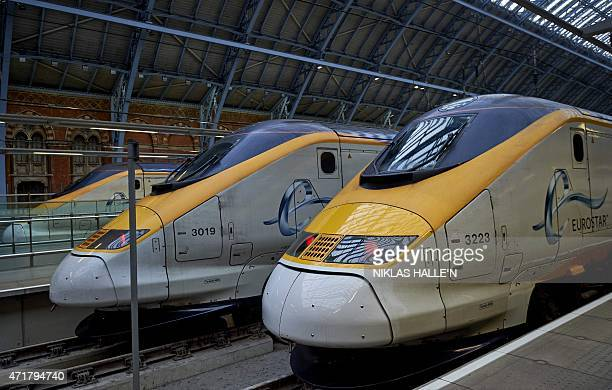 Eurostar passenger trains stand at platforms at St Pancras International station in London England on May 1 during the launch of the company's new...