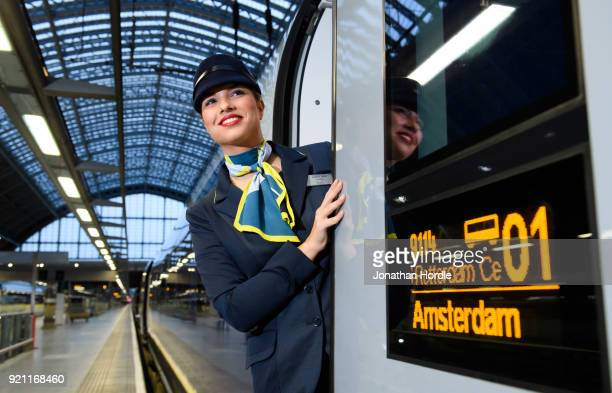 Eurostar staff member Emma Jane Timperley is seen as the inaugural Eurostar service sets off from London to Amsterdam as ticket sales open for the...