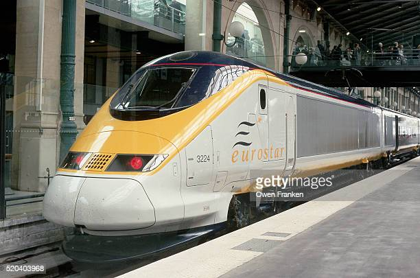 eurostar train at the gare du nord - eurostar stock pictures, royalty-free photos & images