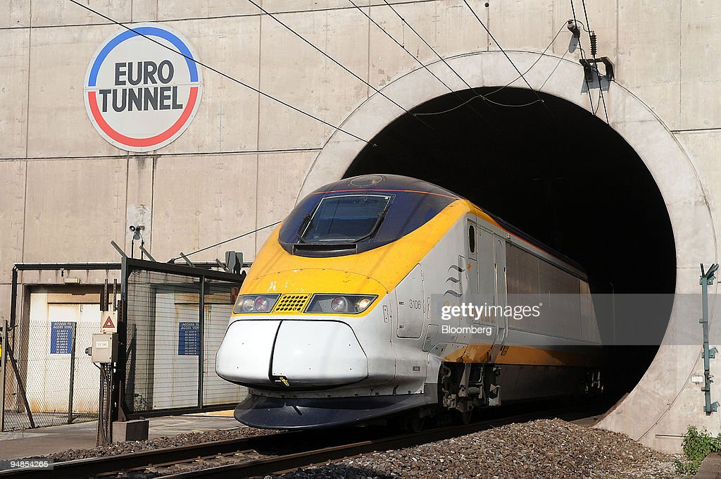 A Eurostar train enters the Eurotunnel near Calais, France, on Wednesday, April 16, 2008. Groupe Eurotunnel SA, operator of the rail tunnel between England and France, said it will commence a rights offer to raise 915.4 million euros ($1.4 billion) and buy back convertible bonds.