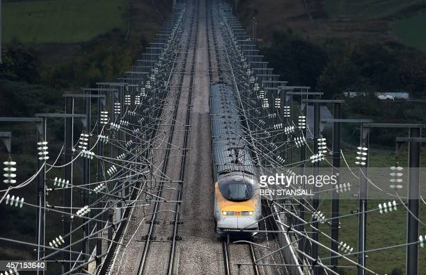 A Eurostar train is seen near Rochester south of London on October 13 2014 Britain's government officially launched on Monday an attempt to sell its...