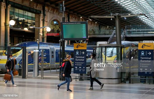 Eurostar trains are at the platform at Gare du Nord train station during the coronavirus outbreak on January 22, 2021 in Paris, France. The French...