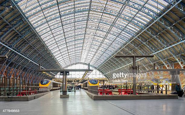 CONTENT] Eurostar trains lined up in the St Pancras station engine shed in London The majestic cathedrallike engine shed which dominates the station...