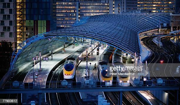 Eurostar trains prepare to leave Waterloo station on it's last day of operation as a departure point for France and Belgium on November 13, 2007 in...