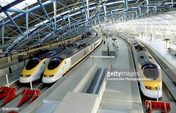Eurostars at the platform Waterloo International Station circa 1995