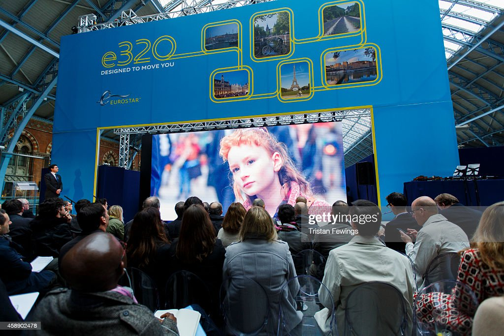 Eurostar's brand new e320 fleet is unveiled today complete with a live reveal of the train and special guests including Raymond Blanc and a catwalk show with 20 Eurostar staff at St Pancras Station on November 13, 2014 in London, England.