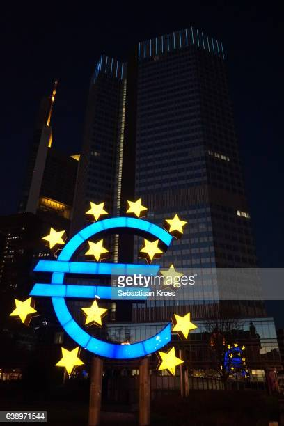 EuroTower and Euro Symbol Sculpture, Frankfurt, Germany