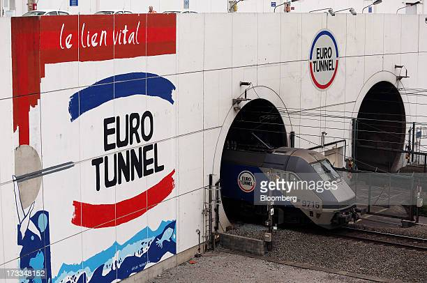 Eurotunnel freight train exits the Channel Tunnel, operated by Groupe Eurotunnel SA, in Calais, France, on Thursday, July 11, 2013. Eurotunnel was...