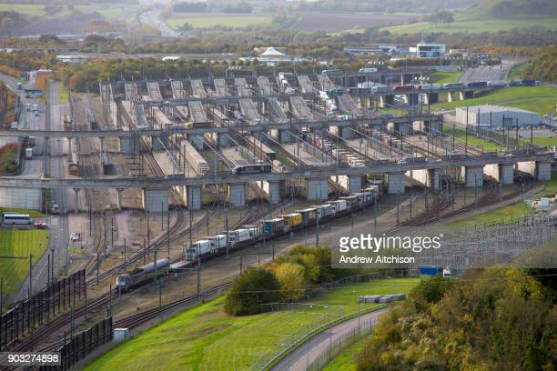 Eurotunnel Shuttle full of artic lorries leaves ther British terminal before entering the Eurotunnel, Cheriton, Folkestone, Kent. United Kingdom. The...