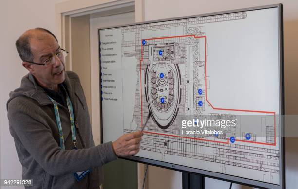 Eurovision 2018 Executive Producer Joao Nuno Nogueira shows blueprint of Altice Arena while briefing members of the foreign press at Portugal...