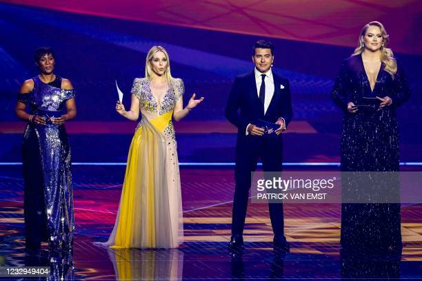 Eurovision presenters Edsilia Rombley, Chantal Janzen, Jan Smit and Nikkie de Jager attend the first dress rehearsal, on the eve of the first...