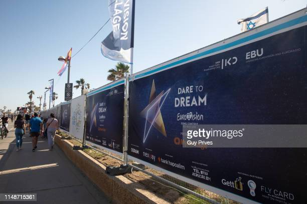 Eurovision signs outside of the Euro Village during the 64th Eurovision Song Contest held at Tel Aviv Fairgrounds on May 12 2019 in Tel Aviv Israel