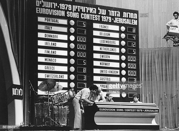 Eurovision Song Contest 1979 in Jerusalem Israeli technicians prepare the scoreboard Israel Photograph 1979