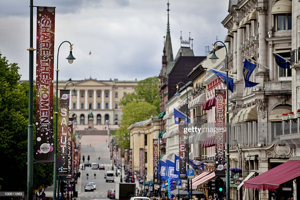 Eurovision Song Contest advertisment banners are displayed in Oslo with the Royal Castle in background on May 25, 2010. The Eurovision Song Contest Final will take place on 29 May in Baerum.