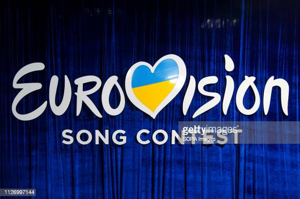 Eurovision Song Contest logo is seen during the 2019 Eurovision Song Contest national selection final in Kiev Ukrainian singer MARUV will represents...