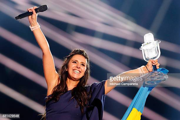 Eurovision Song Contest winner 2016 Jamala representing Ukraine is seen on stage with her award at the Ericsson Globe on May 14 2016 in Stockholm...