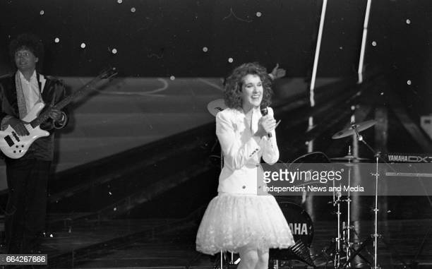 Eurovision Song Contest Winner Celine Dion of Switzerland on stage in the RDS, Dublin, .