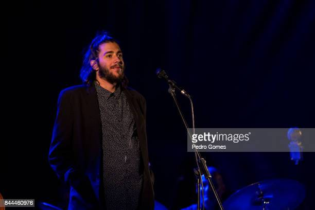 Eurovision's 2017 winner Salvador Sobral performs on stage during his last concert on September 8 2017 in Cascais Portugal Salvador announced that...