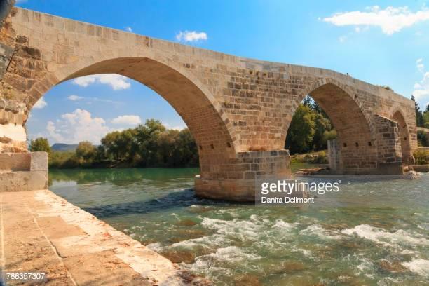 Eurymedon River with Roman bridge, Aspendos, Antalya, Anatolia, Turkey