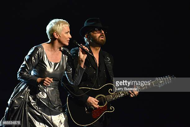 """Eurythmics - Annie Lennox and David A. Stewart perform onstage during """"The Night That Changed America: A GRAMMY Salute To The Beatles"""" at the Los..."""
