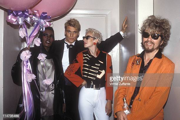 Eurythmics with Grace Jones and boyfriend Dolph Lundgren in the Palladium nightclub in NYC at the 1985 MTV Awards Post Party 09/85