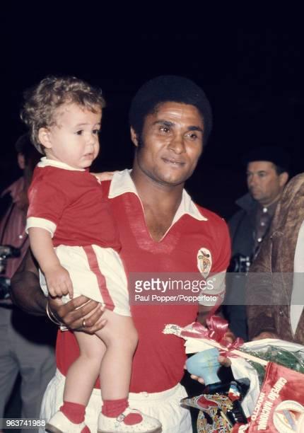 Eusébio and his son after his testimonial match at the Estádio da Luz on September 27 1973 in Lisbon Portugal