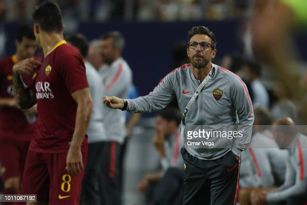 Eusebio Di Francesco coach of AS Roma gives instructions during a match between FC Barcelona and AS Roma as part of International Champions Cup 2018...