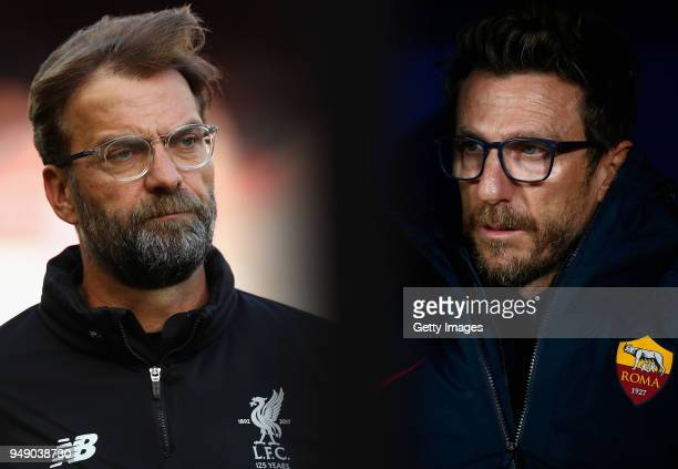 GRADIENT ADDED COMPOSITE OF TWO IMAGES Image numbers 946302214 and 877562988 In this composite image a comparison has been made between Jurgen Klopp...