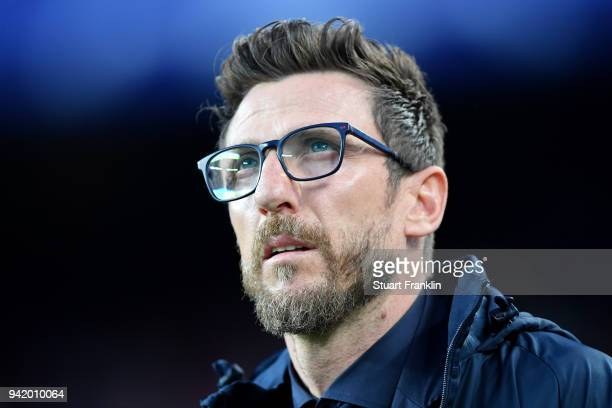 Eusebio Di Francesco coach of AS Roma looks on prior to the UEFA Champions League Quarter Final Leg One match between FC Barcelona and AS Roma at...