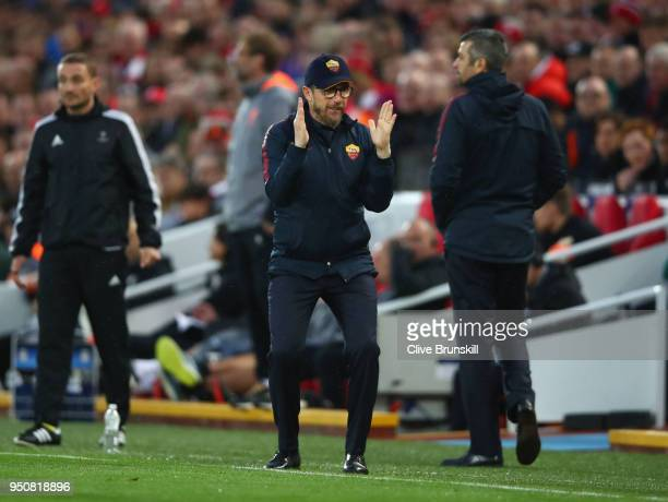 Eusebio Di Francesco coach of AS Roma reacts during the UEFA Champions League Semi Final First Leg match between Liverpool and AS Roma at Anfield on...