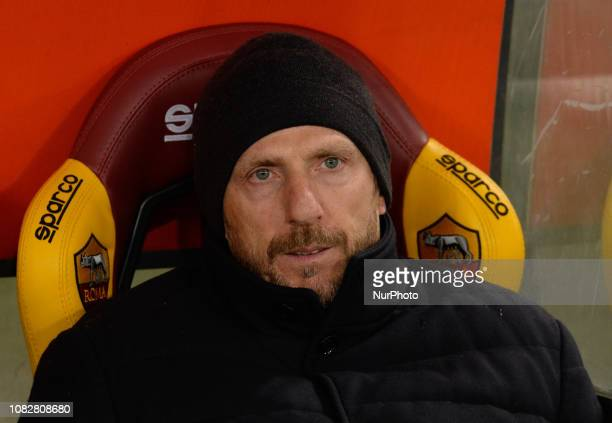 Eusebio Di Francesco during the Italian Cup football match between AS Roma and Virtus Entella at the Olympic Stadium in Rome on January 14 2019