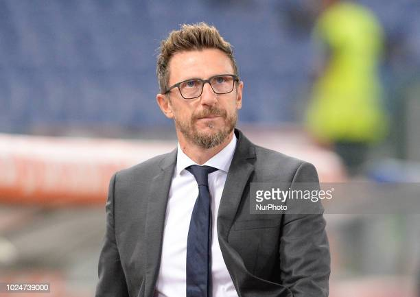 Eusebio Di Francesco during the Italian Serie A football match between AS Roma and Atalanta at the Olympic Stadium in Rome on august 27 2018