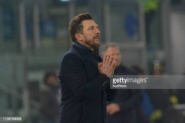 Eusebio Di Francesco during the Italian Serie A football match between AS Roma and FC Bologna at the Olympic Stadium in Rome on february 18 2019