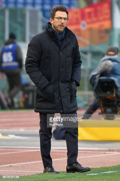 Eusebio Di Francesco during the Italian Serie A football match between AS Roma and Sassuolo at the Olympic Stadium in Rome on december 30 2017