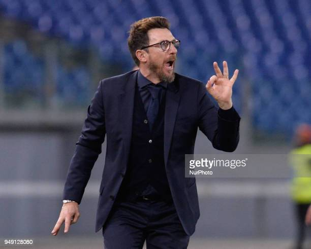 Eusebio Di Francesco during the Italian Serie A football match between AS Roma and AC Genoa at the Olympic Stadium in Rome on april 18 2018