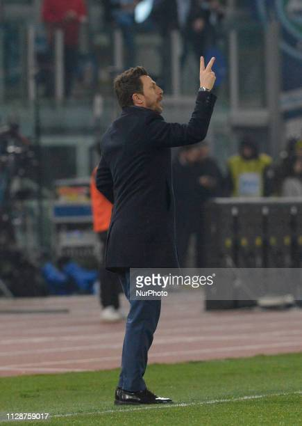 Eusebio Di Francesco during the Italian Serie A football match between SS Lazio and AS Roma at the Olympic Stadium in Rome on march 02 2019