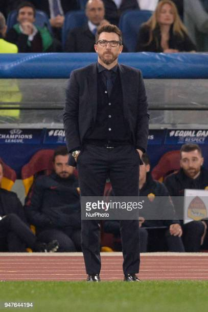 Eusebio Di Francesco during the UEFA Champions League quarter final match between AS Roma and FC Barcelona at the Olympic stadium on April 10 2018 in...