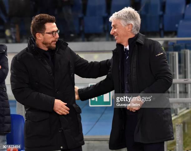 Eusebio Di Francesco head coach of AS Roma and Gian Piero Gasperini head coach of Atalanta BC prior the serie A match between AS Roma and Atalanta BC...